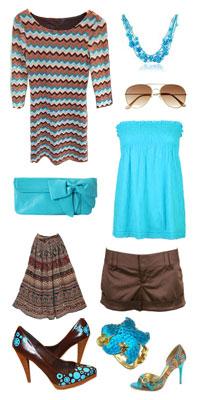 бирюзово-коричневая одежда