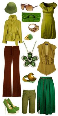 зелено-коричневая одежда