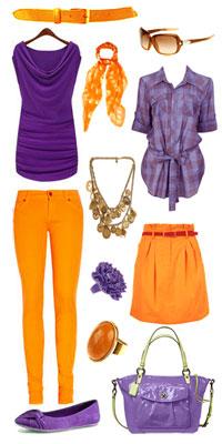 фиолетово-оранжевая одежда